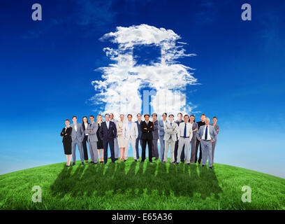 Composite image of business people standing up - Stock Photo