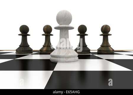 White pawn in front of black pawns - Stock Photo
