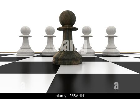 Black pawn in front of white pawns - Stock Photo