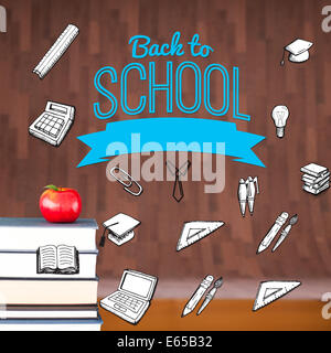 Composite image of back to school message with icons - Stock Photo