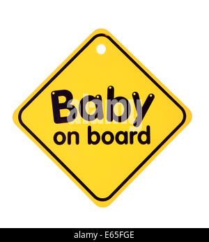 Baby on board sign on the white background. Isolated on white - Stock Photo