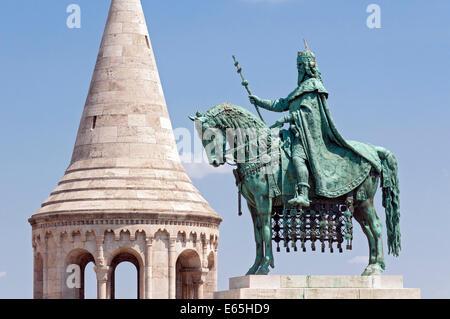 Equestrian Statue of King Saint Stephen, Buda Castle Hill, Budapest, Hungary - Stock Photo