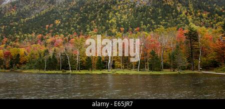 A Mountain Lake During Autumn At Crawford Notch State Park, White Mountains, New Hampshire, USA - Stock Photo