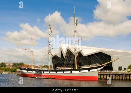 Glenlee Tall Ship Outside Riverside Museum in Glasgow, Scotland - Stock Photo