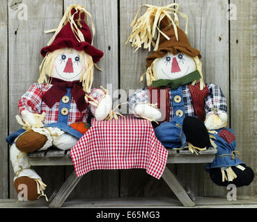 Boy and girl scarecrows sitting on picnic table with red checkered tablecloth by wood fence - Stock Photo