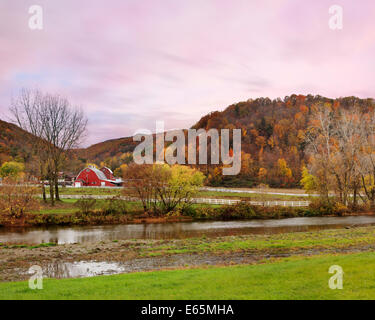 Pasture Lands, A Small River And The Mountains Of Central New York State During The Peak Of Autumn, USA - Stock Photo