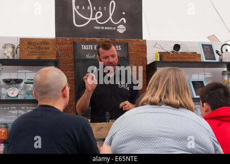 Battersea Park, London, August 15th 2014. A huge variety of different food, drink and condiments are on offer at - Stock Photo