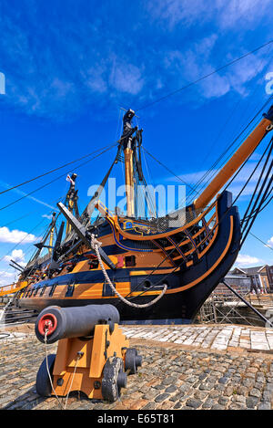 HMS Victory is a 104-gun first-rate ship of the line of the Royal Navy, laid down in 1759 and launched in 1765 - Stock Photo
