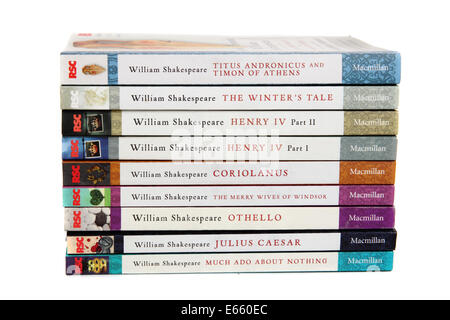 Nine books written by William Shakespeare - Stock Photo