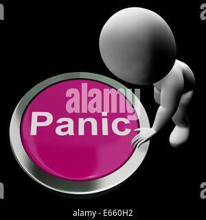 Panic Button Showing Alarm Distress And Crisis - Stock Photo