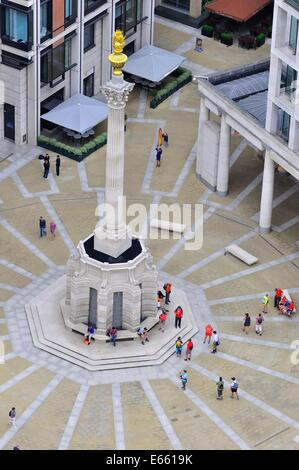 View looking down over Paternoster Square, taken from the Stone Gallery in St. Paul's cathedral, London, England - Stock Photo