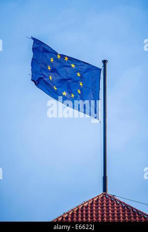 flying flag of EU - Stock Photo