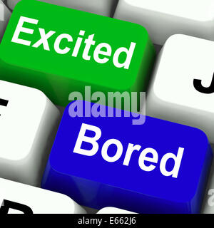 Excited Bored Keys Showing Exciting And Boring Websites - Stock Photo