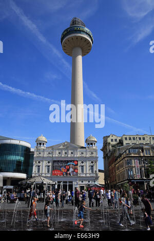 Radio City Tower, from busy shopping area Williamson Square, in Liverpool, on Merseyside, NW England, UK - Stock Photo