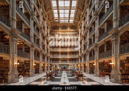 Baltimore George Peabody Library one of the most beautiful famous libraries in the world. - Stock Photo