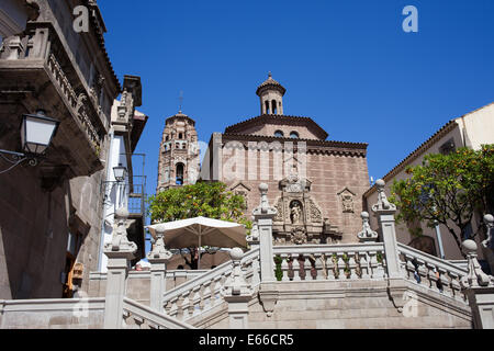 Gradas de Santiago in Poble Espanyol - Spanish Village in Barcelona, Catalonia, Spain. - Stock Photo