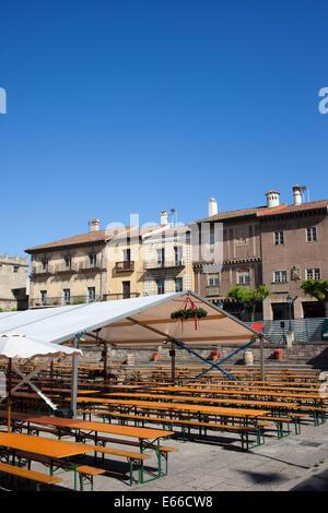 Plaza Mayor in Poble Espanyol - Spanish Village in Barcelona, Catalonia, Spain. - Stock Photo