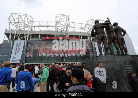 Manchester, UK. 16th Aug, 2014. Pictured: The Old Trafford. Saturday 16 August 2014  Re: Premier League Manchester - Stock Photo