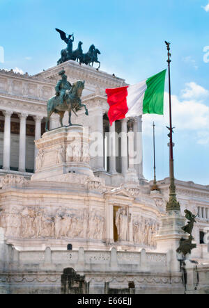 Italian flag in the Vittoriano monument - Stock Photo