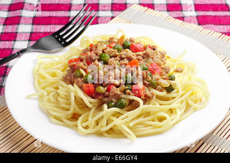 Spaghetti with minced meat and vegetables - Stock Photo