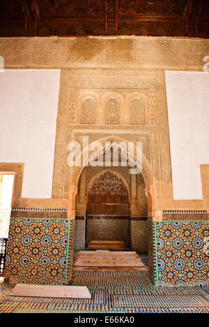 Saadi Dynasty originated in the valley of the Draa River. Among the 6 graves are those of Ahmad al-Mansur and his - Stock Photo
