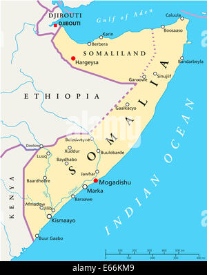 Somalia Political Map with capital Mogadishu, with national borders, most important cities and rivers. English labeling. - Stock Photo