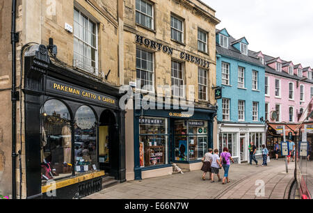 Town centre view, with attractive period buildings, shops and shoppers, Cirencester, Cotswolds, Gloucestershire, - Stock Photo