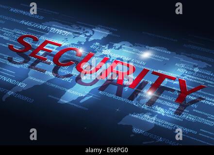digital coding business internet technology security blue background - Stock Photo