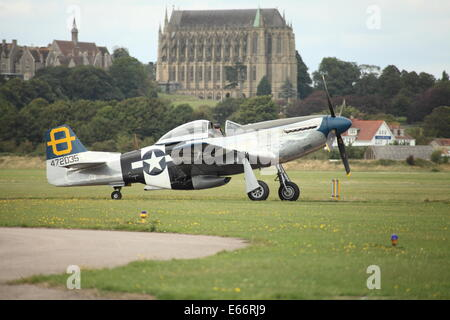 North American P-51 Mustang with Lancing College in the background - Stock Photo
