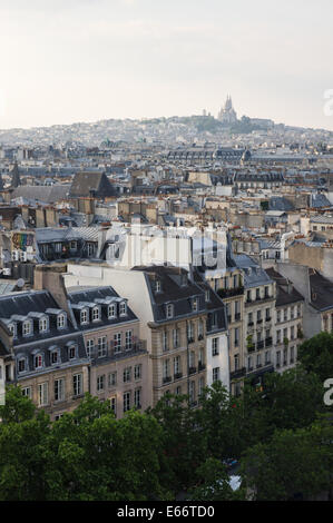 City view from top floor of the Centre Georges Pompidou in Paris, France - Stock Photo