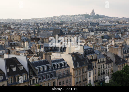 Panoramic view from top floor of the Centre Georges Pompidou in Paris, France - Stock Photo
