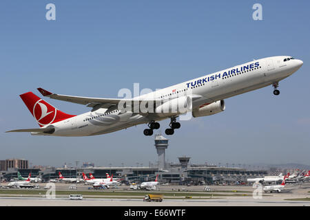 Istanbul, Turkey - May 15, 2014: A Turkish Airlines Airbus A330-300 with the registration TC-JNP takes off from - Stock Photo