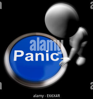Panic Pressed Showing Alarm Distress And Crisis - Stock Photo