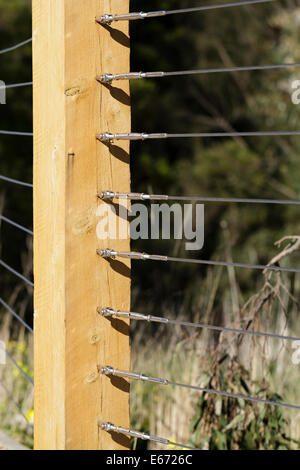 Tension Wire Fence And Wooden Post Stock Photo 14797260