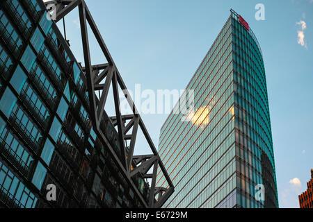 Berlin Potsdamer Platz in the morning with DB (Deutsche Bahn) tower. - Stock Photo