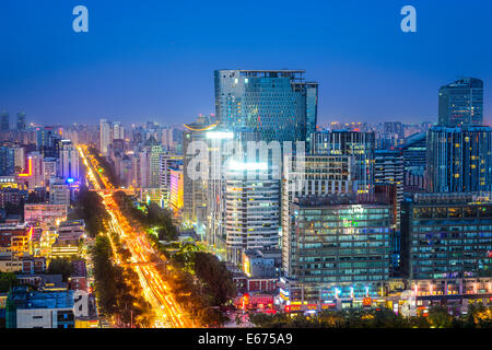 Beijing, China downtown cityscape at night in Chaoyang District. - Stock Photo