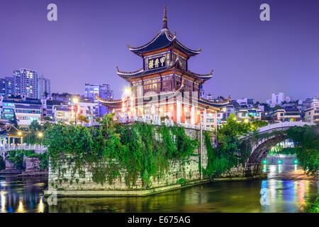 Guiyang, China skyline at Jiaxiu Pavilion on the Nanming River. - Stock Photo