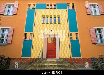 Front door detail at Gartenstadt , (Garden city), housing estate a UNESCO world Heritage site at Falkenberg in Berlin - Stock Photo