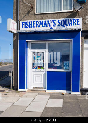 Conveniently located Fish and Chip shop in Fisherman's Square Redcar - Stock Photo