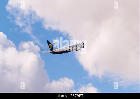 A Ryanair Boeing 737 taking off from Luton Airport in England , Britain , Uk - Stock Photo
