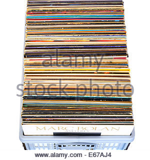 Box of old LP records, England - Stock Photo