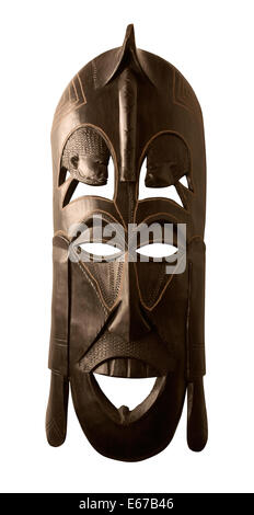 studio photography of a wooden african mask isolated on white - Stock Photo