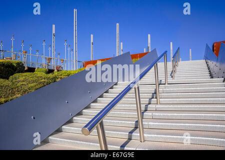 Steps leading to Federation Bells, public art installation Melbourne, Victoria Australia - Stock Photo