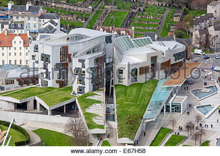 View of the Scottish Parliament from the Arthur's Seat, Edinburgh, UK - Stock Photo
