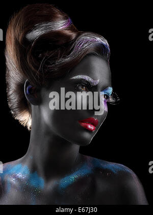Body-painting. Fantasy. Woman with Fantastic Stagy Makeup over Black - Stock Photo