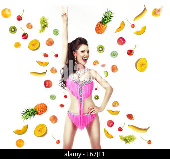 Healthy Lifestyle & Diet Concept. Woman with Mix of Juicy Fresh Fruit - Stock Photo
