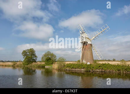 Turf Fen drainage windmill or wind pump on the river Ant Norfolk Broads - Stock Photo