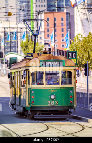 Traditional iconic Melbourne tram, Docklands Melbourne, Australia - Stock Photo