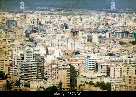 Aerial view of Palma de Mallorca - vintage photo - Stock Photo