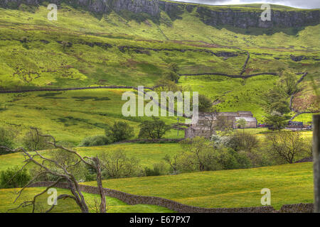 The Green Rolling Hills of the Yorkshire Dales - Stock Photo